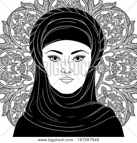 Portrait of arabic muslim woman. Black and white vector illustration