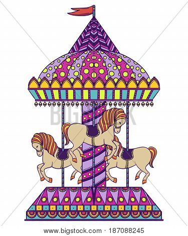Vintage carousel. Colorful hand drawn vector illustration