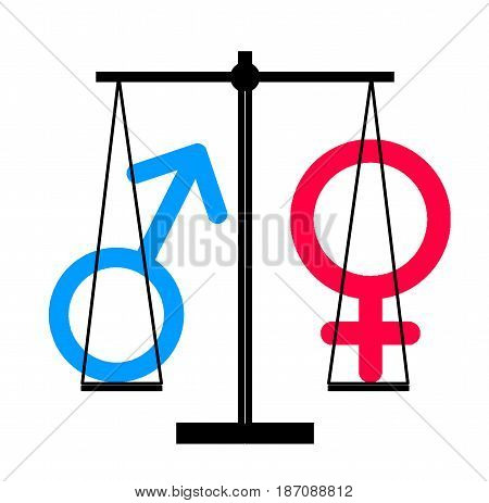 Equality between man and woman gender, illustrated in sex symbols