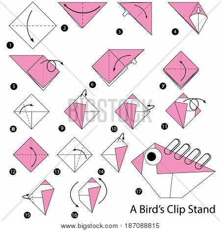 step by step instructions how to make origami A Birds Clip Stand.