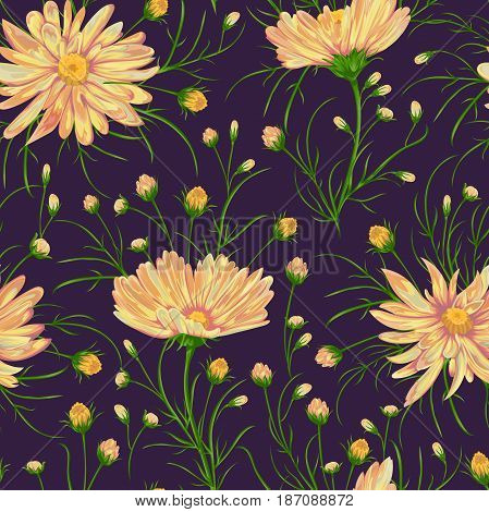 Seamless pattern with chamomile flowers. Rustic floral background. Vintage vector illustration in watercolor style.
