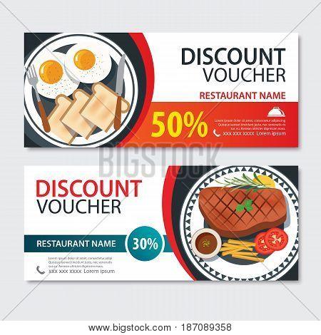 Discount voucher american food template design. Set of steak and breakfast