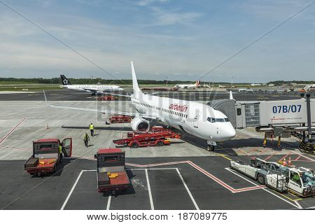 Air Berlin Aircraft Ready For Boarding  At The New Terminal In Hamburg