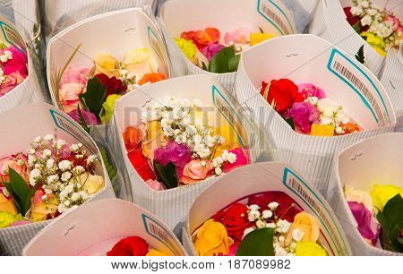 Bunch of beautiful and colorful different type of flowers .