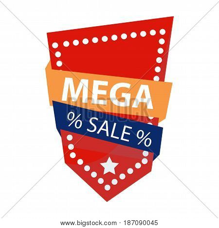 Bright red mega sale emblem isolated on white. Vector illustration.
