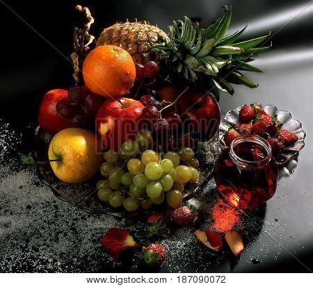 Assortment of citrus fruits jam and sugar