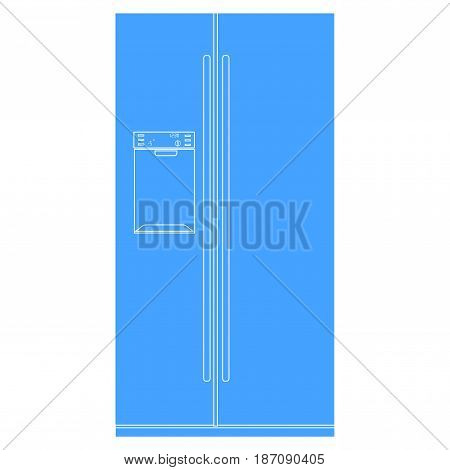 Refrigerator with two doors. Vector Illustration isolated on white background