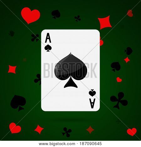 Ace of spades. Playing cards . Vector illustration