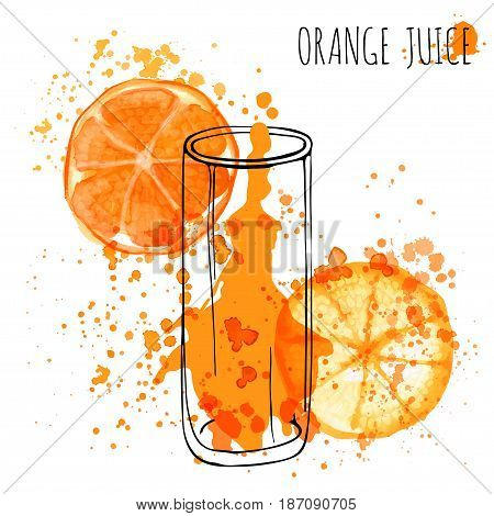 Orange Juice Splash, vector hand draw watercolor illustration. Orange Juice in sketched glass with splashes isolated on white background