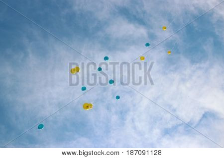 Colorful Balloons flying in Festive Party at top
