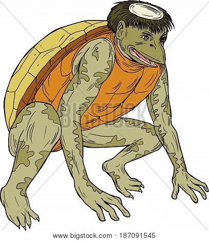 Drawing sketch style illustration of a kappa kawataro komahiki or kawatora a yokai demon or imp found in traditional Japanese folklore that is humanoid turtle crouching set on isolated white background.