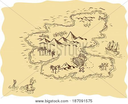Drawing sketch style illustration of a pirate treasure map showing a treasure chest with x mark the sport and sailing ship and sea serpent in background.