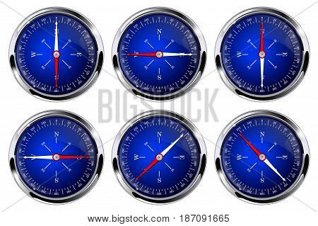 Compass. Blue compass with chrome frame. Vector isolated on white background. Illustration.