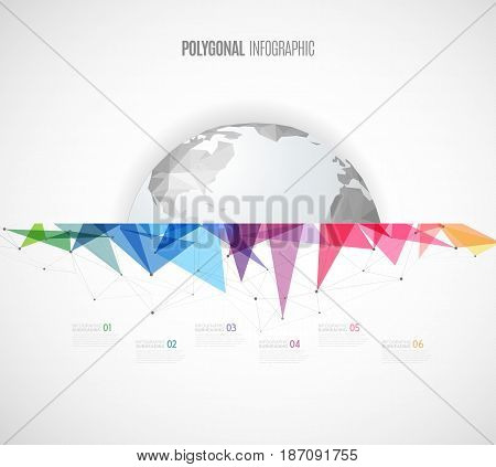 Infographic template with polygonal map and colorful objects - light version.
