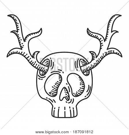 Skull with deer horns illustration. Hipster theme illustration.