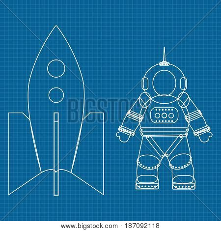 Astronaut and spaceship. Vector illustration on Blueprint Background.