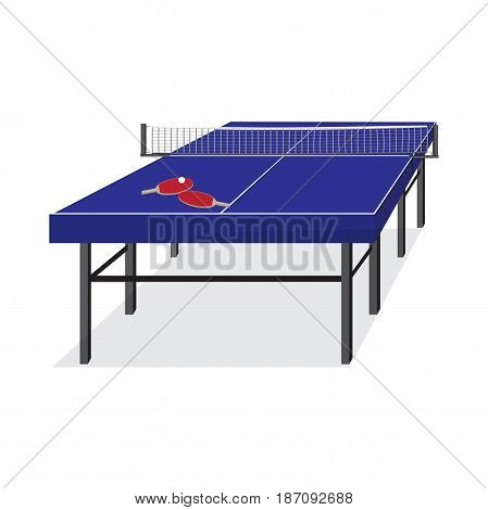 Blue table for tennis and rackets. Equipment for ping-pong