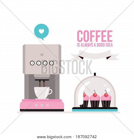 Coffee machine and delicious muffins on tray on white background Vector illustration