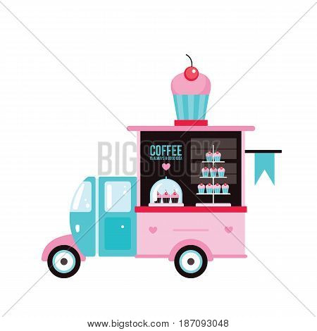 Food truck Fast food Cafe Delicious sweet desserts Cute cupcake Vector illustration