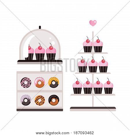 Delicious sweet desserts Donuts Cupcakes isolated on white background Vector illustration