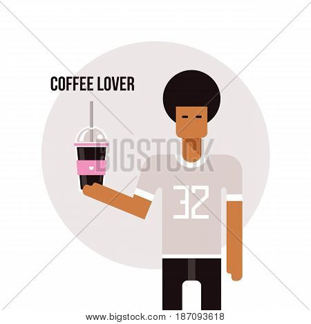 Young African American man holding cup with delicious beverage cup Vector illustration