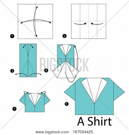 step by step instructions how to make origami A Shirt.