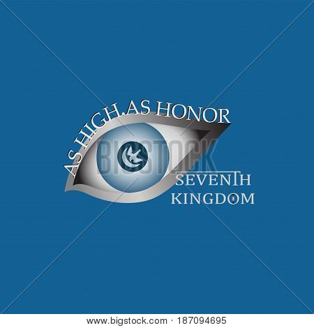 Eye and text As high, as honor.  A bird's-eye view. Decal, emblem, logo on a red background. Vector image. Design for a banner, a poster, textiles, covers for phones, a website.