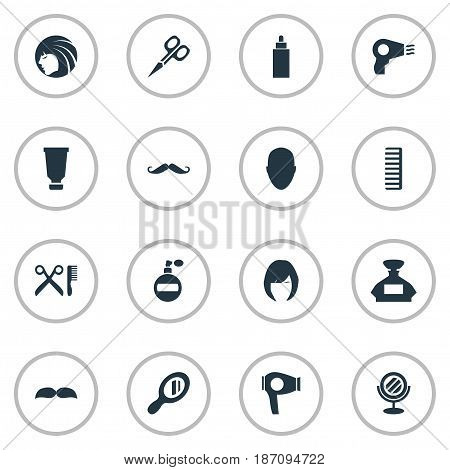 Vector Illustration Set Of Simple Hairdresser Icons. Elements Container, Aroma, Reflector And Other Synonyms Beautiful, Comb And Hair.
