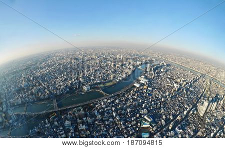 Tokyo skyline from the tower. Sumida. Tokyo. Japan.