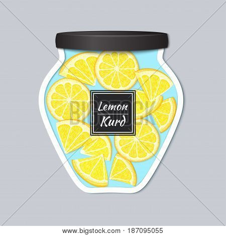 Vector label in the form of a jar with jam with a realistic lid. Lemon citrus fruits in a jar. Vector illustration of a fruit sticker for the design of packaging of juice, marmalade, jam, detox diet