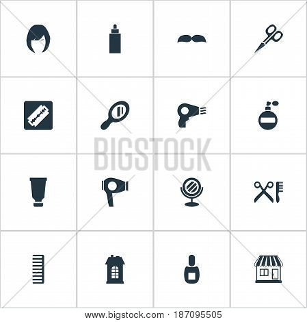 Vector Illustration Set Of Simple Beautician Icons. Elements Blow Dryer, Barber Tools, Cut Tool And Other Synonyms Glass, Architecture And Tool.