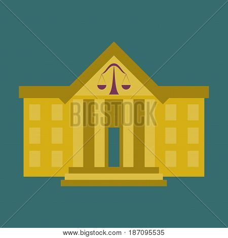 flat icon on stylish background courthouse business