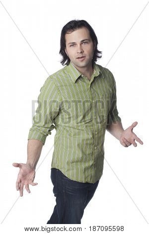 Caucasian man with arms outstretched