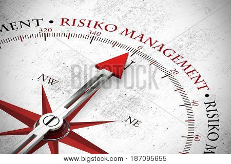 Red arrow pointing to German word Risiko Management (risk management) (3D Rendering)