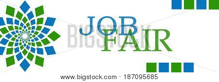 Job Fair text written over green blue background.