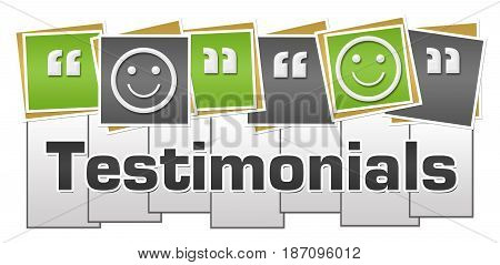 Testimonials concept image with text and related symbol.