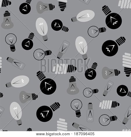 Electric Lamp Seamless Pattern on Grey Background