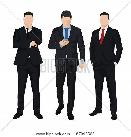 Group of three business men isolated vector illustrations. Set of people in dark suits