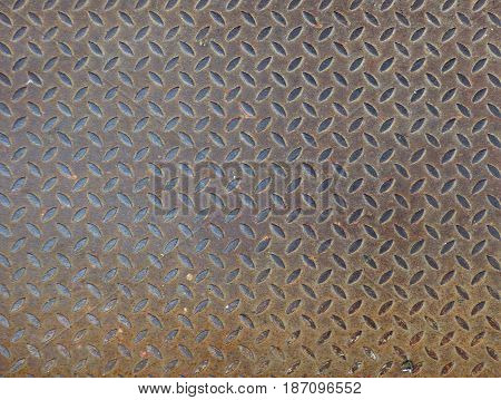 Rusty metal surface with notches. Dirty steel texture with regular structure, industrial background with empty space for text. Grunge wallpaper.
