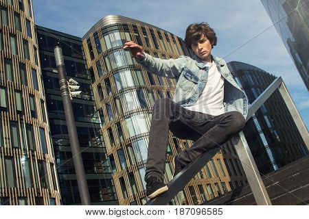 Young Man Doing Parkour In The City