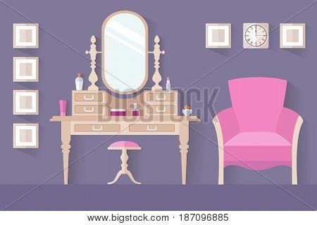 Design of a female boudoir. Vector interior. Dressing table. Women's room.