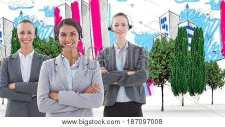 Digital composite of Digital composite image of customer service representatives with arms crossed in drawn city
