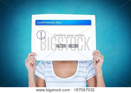 Digital composite of Woman holding confirmation box sign in front of face