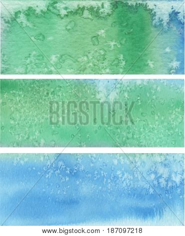 Three artistic blue greeinsh textured watercolor vector banners