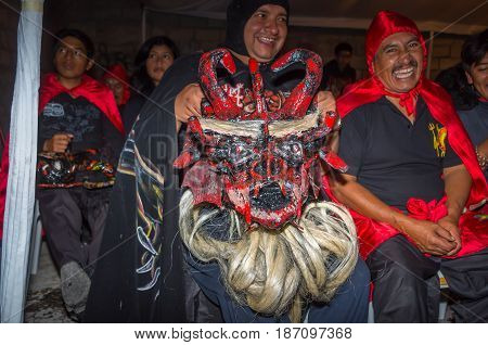 Quito, Ecuador - May 27, 2015: An unidentified people dressed up as devil in the diablada.