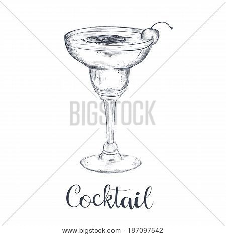Cocktail sketch hand drawing. Vector illustration of cocktail