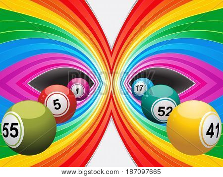 Colourful Abstract Landscape background with Bingo Lottery Balls