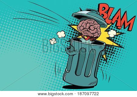 human brain is thrown in the trash. Comic book cartoon pop art retro color vector illustration hand drawn