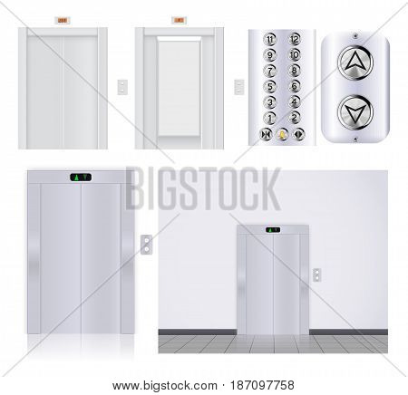Elevator buttons panel. Elevator with open doors and with closed doors. Vector illustration isolated on white background