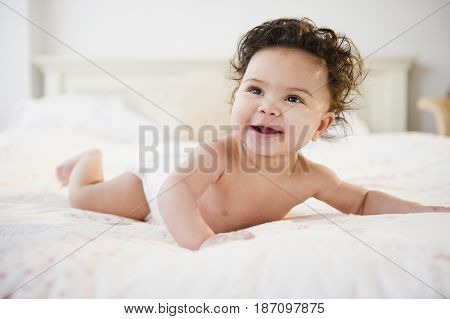 Smiling mixed race baby